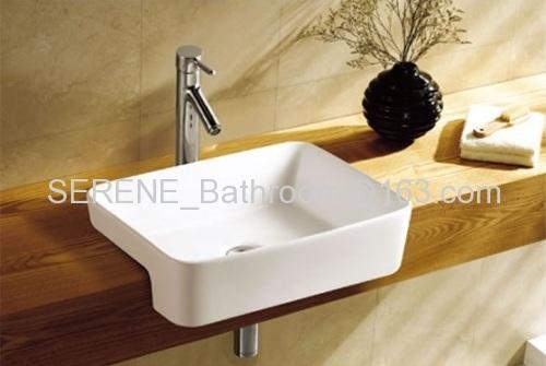 Sanitary ware Bathroom Ceramic White Color Semi Recessed Art Wash Basin