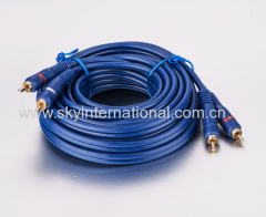RCA Cables Transparent pure OFC copper wire BLUE