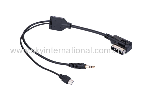 Audio cable for Audi Ami VW MMI A4 A6 A8 Connector for Samsung HTC 30CM LONG