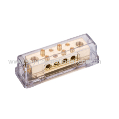 Power Distribution Block 0GA x 2 in/8GA x 8 out Acrylic clear cover Gold Plated