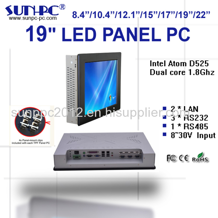 cheap 19 inch 4COM industrial touch computer panel pc from
