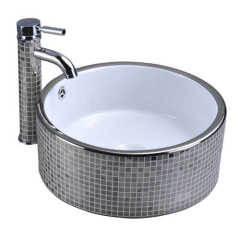 Sanitary ware Ceramic Silver Pattern Plated On Surface Art Wash Basin