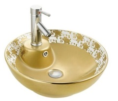 Sanitary ware Ceramic Gold Pattern Plated On Surface Art Wash Basin