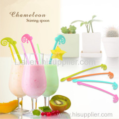 4pcs/set Korean Cute Chameleon Stirring Spoon Swizzle Mixing Sticks Ladle Plastic Glass Drink Cocktail Stirrers Muddler