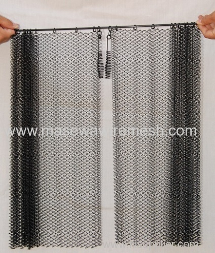 black fireplace spark curtain