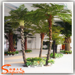 Small Fake Plants Plastic Leaves Artificial Cyathea Palm Tree with fiberglass trunk for garden decoration