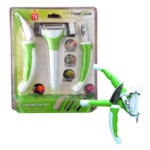 Manual 3 in 1 Green peeler of triple slicer