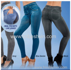 NEW - Genie slanke vrouwen Denim Look Jeggings / Gedrukt Slim Leggings