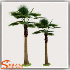 Steel plate handmake artificial Palmetto tree green ornamental Washington palm trees with fiberglass for indoor