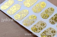 metallic lace nail sticker golden foil lace nail sticker colorful foil water nail stickers silver foil and gold foil wat