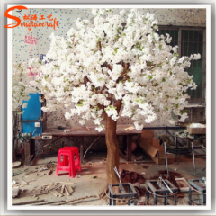 plastic leaves silk sakura flower artificial white indoor Japanes plants cherry blossom tree for wedding decor