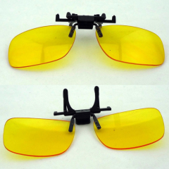 Rimless clip on yellow Night Vision Glasses