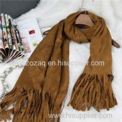 Long Size Suede Scarf