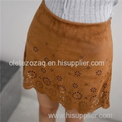 Simple Suede Skirt With Defferent Hollow Pattern