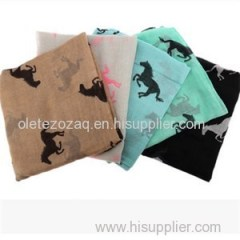 Polyester Scarf With Animal Printed
