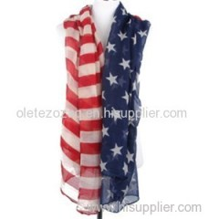 Polyester Scarf With Flag Printed