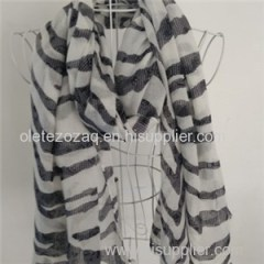 Polyester Scarf With Simple Dots Or Stripe Printed