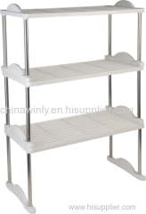 3 layer plastic shoe rack with stainless steel