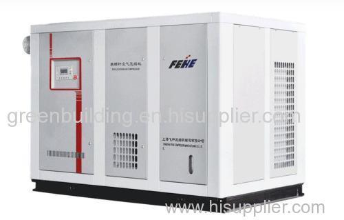 Stationary electromotor powered single screw air compressor