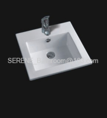 Sanitary ware Ceramic white color square slim edge bathroom furniture washbasin