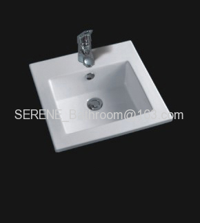 Sanitary ware Ceramic white color square slim edge bathroom furniture washbasin