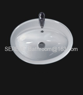 Sanitary ware ceramic white oval counter top wash basin