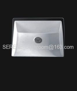 Sanitary ware ceramic white color square under counter washbasin