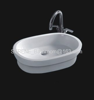 Sanitary ware ceramic white color counter top basin or semi recessed sink