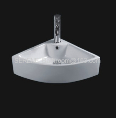 Sanitary ware ceramic white color wall hung corner washbasin