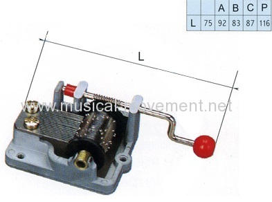 Plastic Ball Handle Hand Wound Music Box Movement