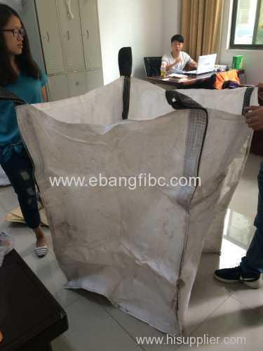 Open top big bag with bottom discharge