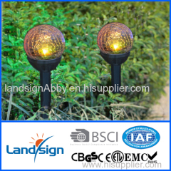 solar light factory landsign PP+Glass solar led ball light outdoor