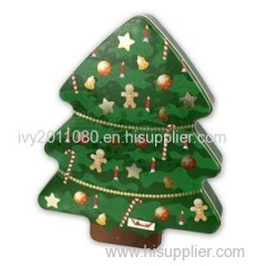 Christmas Tree Metal Tin Box