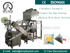 Black Tea Green Tea Triangle Nylon Teabag Packaging Machine with Inner&Outer Bag with Tag& Thread China Manufacturer