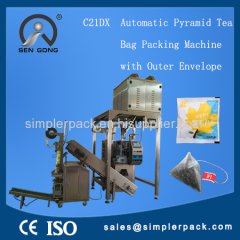 Automatic Pyramid Tea Bag Packing Machine with Outer Envelope Triangle Nylon Tea Bags Packing Machine Ultrasonic Seal