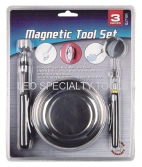 "3 Pack Magnetic Tool Set - Includes 4 1/4"" Magnetic Parts Tray & 1-1/4"" Diameter Telescoping Inspection Mirror and 5lbs"