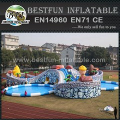 Inflatable water park slide pool