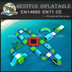 Inflatable floating water park with obstacles
