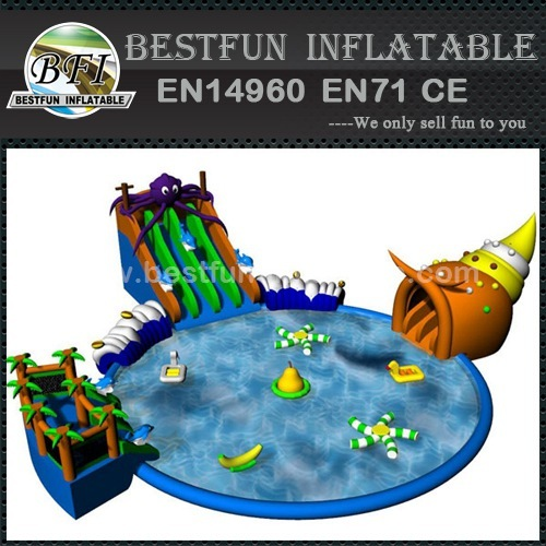 Water park slide with swimming pool