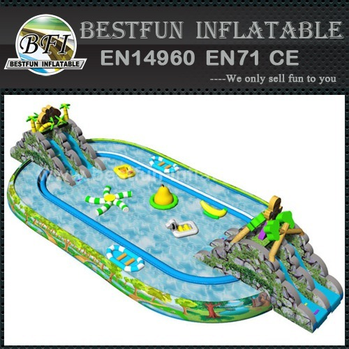 Outdoor inflatable amusement water park