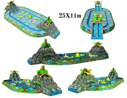 Inflatable Water Park With Big Pool And Slide For Land