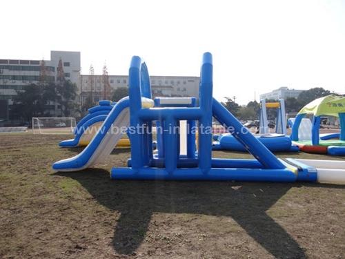 Large floating inflatable water park slides