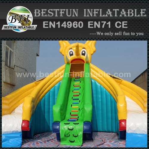 Inflatable pool slides for indoor ground