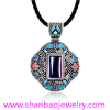 Silver Plated Gemstone Jewelry China Style Women Woman Girls Flower Party Necklaces
