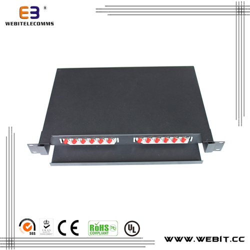 19 inch 12 or 24 ports ST simplex single mode fiber patch panel