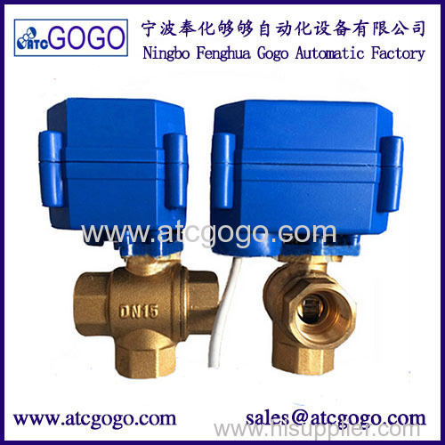 3- way motorized ball valve 6N.m motor actuated valve brass automatic valve
