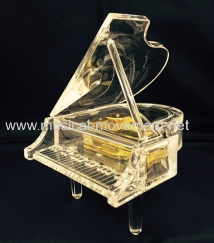 BRILLIANT ACRYLIC GRAND PIANO MUSIC BOX