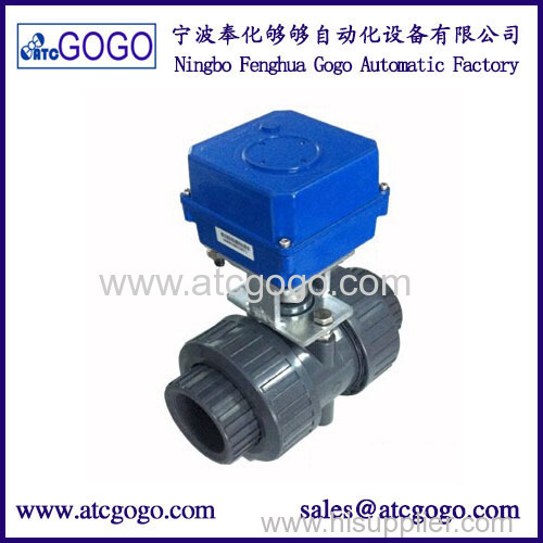 2 way 10 NM torque UPVC actuator motorized water ball valve with manual function