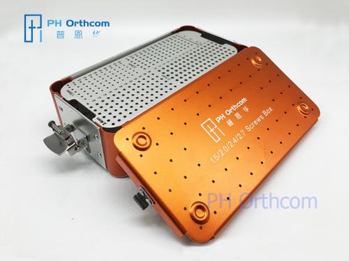 1,5 / 2,0 / 2,4 / 2,7 mm tornillos Mini kit de tornillos de esterilización de instrumentos ortopédicos veterinario contenedor OEM