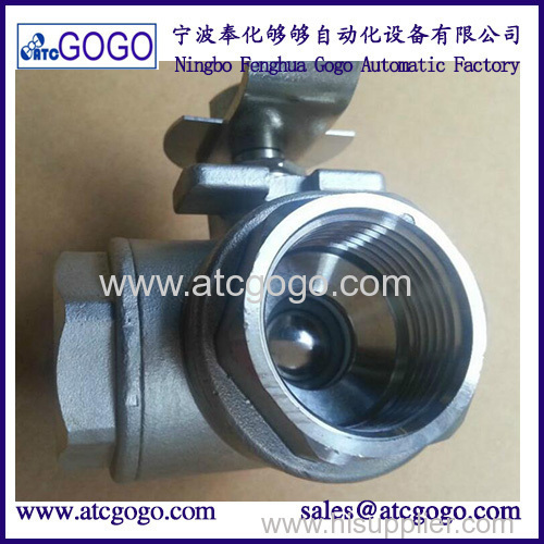 stainless steel switch ball valve 2 inch BSP female thread SS304 3 way water ball valve